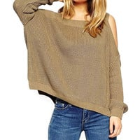 Off-Shoulder Long Sleeve Knit Sweater
