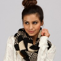 Black And White 2-tone Infinity Scarf