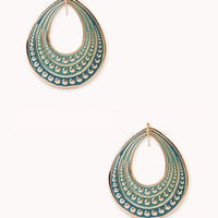 FOREVER 21 Dimpled Cutout Teardrop Earrings Teal/Gold One