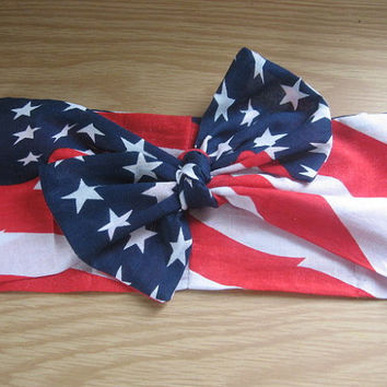 Hair Scarf, 4thofJuly Bandana, WIDE Bandana Headband, USA HairBand, Hair Bandana, PinUp Bandana, Knotted HairBand, Boho Band #314