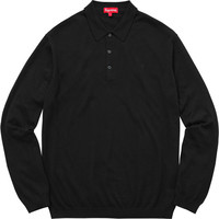 Supreme: Knit L/S Polo - Black