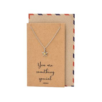 Jayla Star Pendant Necklace, Gifts for Women with Inspirational Greeting Card