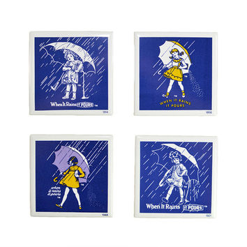 "Morton's Salt Advertising Coasters (Set of 4) - Girl & Umbrella, ""When It Rains, It Pours"" Logo Slogan Antique Imagery - Vinage Home Decor"