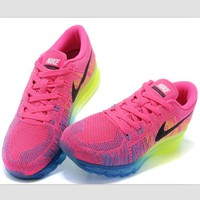 NIKE air cushion flying line woven rainbow casual shoes sports shoes Rose red green bl