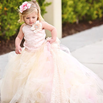 Lace Flower Girl Dress with Train-Blush Pink--Formal Wear Tutu Detachable Train--Pink Champagne--Summer Weddings
