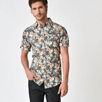 Green Tropical Tiki Floral Button Down Cotton Shirt