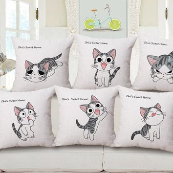 Japanese Anime Cat Pillow Cases Home Decoration Gift Emoji Kid Throw Massager Decorative Vintage Pillows Cover Decor