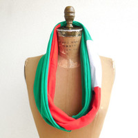 Boston Red Sox T Shirt Infinity Scarf / Green Red Gray / Gift For Her / Recycled / Upcycled / Cotton / Soft / Winter / Spring / ohzie