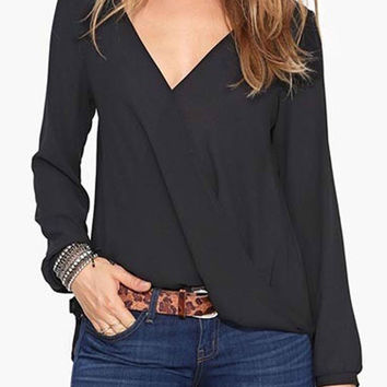 Black V-Neck Long Sleeve Chiffon Blouse