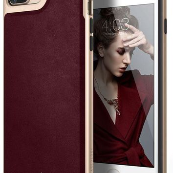 Caseology Envoy Series Iphone 7 Plus / 8 Plus Cover Case With Leather Slim Protective For Apple Iphone 7 Plus (2016) / Iphone 8 Plus (2017)   Leather Cherry Oak