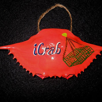 iCrab Hand painted Blue Crab Shell