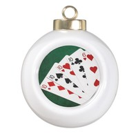 Poker Hands - Four Of A Kind - Tens and Six Ceramic Ball Christmas Ornament