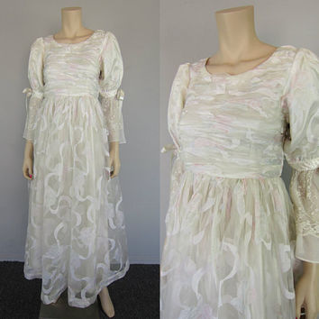 Vintage 80s White Sheer Pink Floral Chiffon Lace Maxi Wedding Dress Gown Shirred Renaissance Victorian Hippie Boho