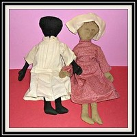 """Pair of Vintage Cloth Dolls - 14"""" Tall Black and White Primitive Style (item #1293628)"""