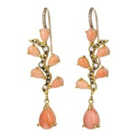 Coral and Diamond Branch Earrings
