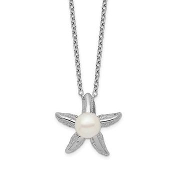 Sterling Silver White Button Freshwater Cultured Pearl Starfish Necklace