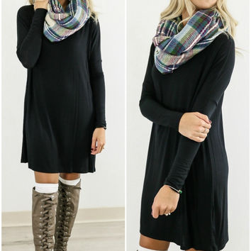 Time Well Wasted Black Long Sleeve Dress