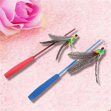 Tease Cat Sticks Interact With The Owner Three Sections Stretchable Fishing Rods With Feathers Pet Toys Training Pet Supplies