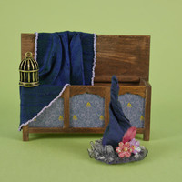 Witches Purple Cloak with Witches Hat, 1:12 or 1/12 Scale Dollhouse Miniature, Oak Blanket Chest, Ottoman, Gilded Birdcage for Witch/Cottage