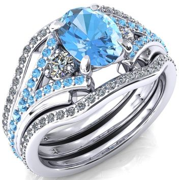 Arietis Oval Aqua Blue Spinel Diamond Sides 3/4 Eternity Accent Aqua Blue Spinel Ring