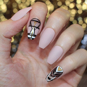 Soft nude and tribal print with negative space, studs and gold • Handpainted False Nails • Fake Nails • Press on Nails • Stick on Nails