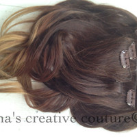 """14"""", Ombre, Medium to Dark Brown with Blonde Fade, Human Hair Extensions, (7) Pieces, 14"""""""