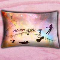"Disney New Peter Pan Quote Pillow Cover, Pillow case, Throw Bed Bedroom, Size 30"" x 20"""