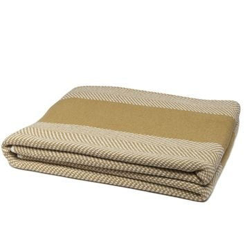 Eco-Friendly Made in USA Blanket Herringbone with Stripes Mustard