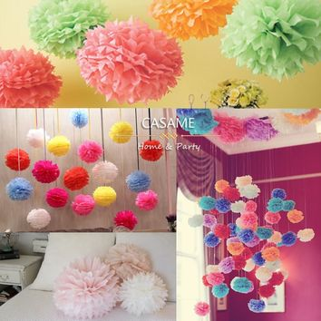 30pcsTissue paper pom poms balls  mixed size (15cm,20cm,25cm) Wedding decoration Festival baby shower party decoration supply