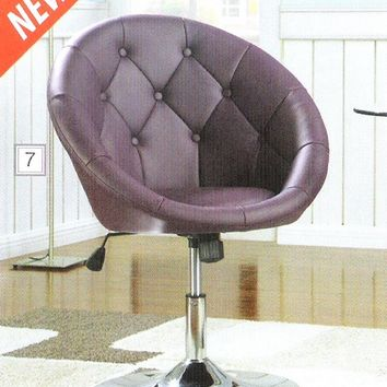 A.M.B. Furniture & Design :: Living room furniture :: Accent chairs :: Espresso leather like vinyl scoop chair with button tufted styling and chrome metal base with adjustable height