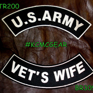 Military Patch Set U.S. Army Vet's Wife Embroidered Patches Sew on Patches for Jackets