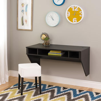Designer Floating Desk in Washed Black