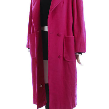 "Oversized Wool Coat L 80s Clothing Long Hooded Coat Shawl Collar Magenta Fuschia Pink Wool Coat Vintage Clothing Women's Size XL 42"" Hips"
