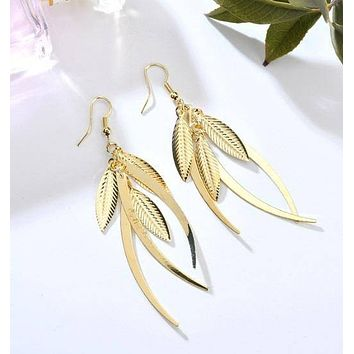 Dangling Feathers Earrings in Gold or Silver