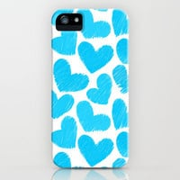 Sketchy hearts in blue and white iPhone & iPod Case by Silvianna