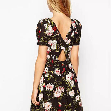 Black Floral Backless Chiffon Short Sleeve Cut-Out A-line Mini Skater Dress