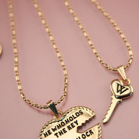 10K GOLD ANTIQUE HEART & KEY NECKLACE SET at Wildfox Couture in  ASSORTED
