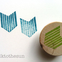 geometric rubber stamp - chevron rubber stamp - hand carved rubber stamp - hand carved stamp - mounted - no1 - READY TO SHIP