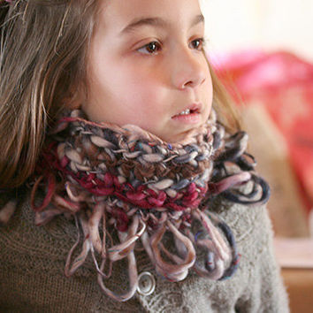 Crochet cowl with fringes, Bulky neck warmer collar with fringe