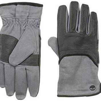 DCCK8X2 Timberland Men's Wax Canvas and Deerskin Glove, Black, Large