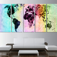 world map canvas art print, colorfull world map wall art, large canvas print, extra large wall art, world map canvas art modern art t408