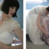 Vintage Inspired Guipure Lace Wedding Dress | atelierTAMI - Wedding on ArtFire