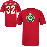 Nicklas Backstrom Minnesota Wild Reebok Name and Number Player T-Shirt – Red