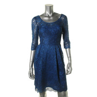 Betsey Johnson Womens Lace Pleated Cocktail Dress