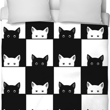 ROB Black and White Cat Checkers Duvet Cover