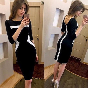 Women Sexy Black Red Sky blue Half Sleeve Patchwork Casual Summer Dress,Vestidos Cocktail Party Bodycon Office Work Dresses