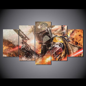 canvas art Printed Star Wars 5 piece picture Painting Canvas Print room decor print poster picture canvas Free shipping/NY-5852