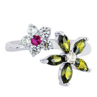 Sterling Silver Rhodium Plated Colored Flower CZ By Pass Style Adjustable Toe Ring