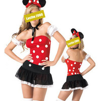 Women Halloween Disney Mickey Mouse Cartoon Cosplay Costumes Nightclub Skirt