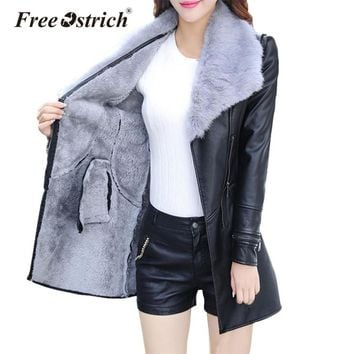 Free Ostrich Jacket Winter Leather Jacket Warm Velvet Coat Women Sashes Zipper Fur Turn-down Collar Long Jacket Dropshipping D28